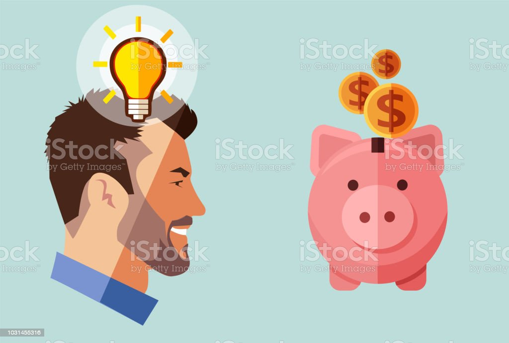 Hipster beard businessman with idea looking piggy bank with money. Financial concept. vector art illustration