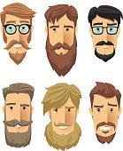 Hipster subculture, beard movement. Vector illustration cartoon.