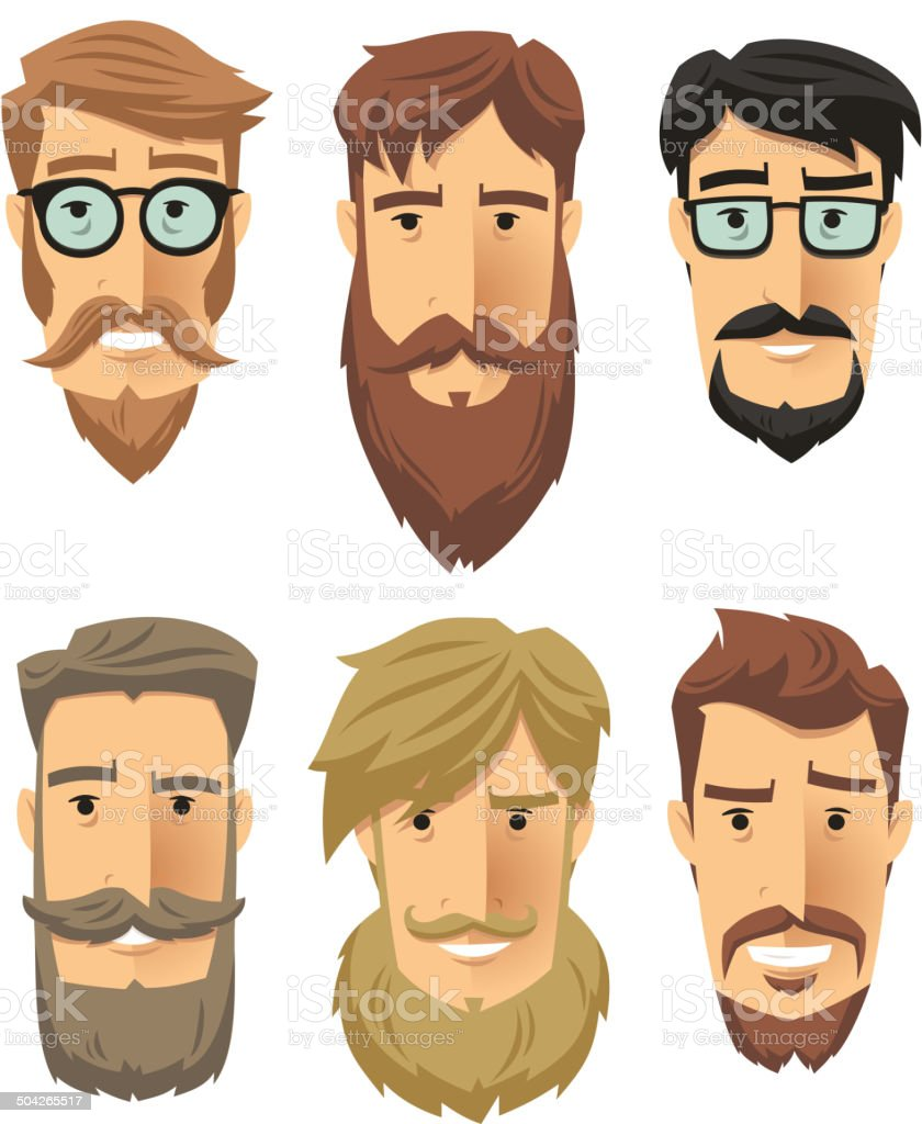 Hipster Beard vector art illustration