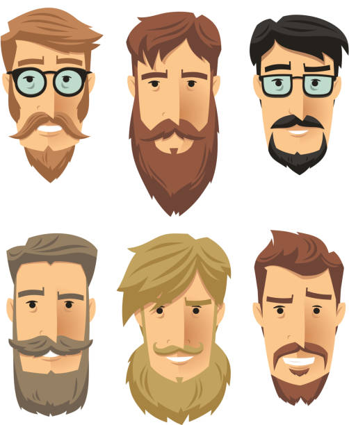 Hipster Beard Hipster subculture, beard movement. Vector illustration cartoon. suave stock illustrations