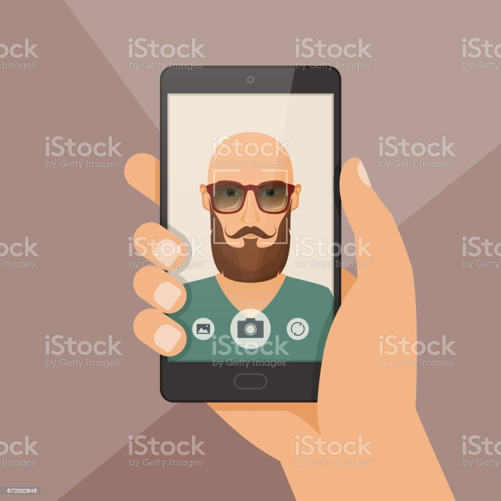 Hipster bearded young man takes selfie using a smartphone. vector art illustration