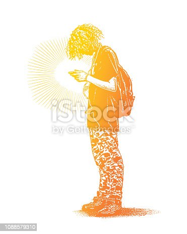 istock Hipster boy using phone and listing to music 1088579310