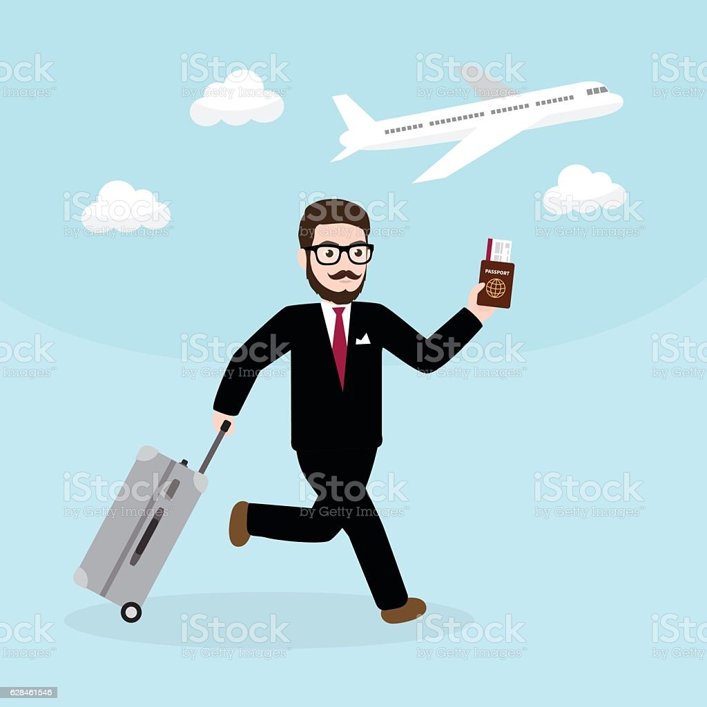 Hipster Businessman with suitcase and passport running late for flight ベクターアートイラスト