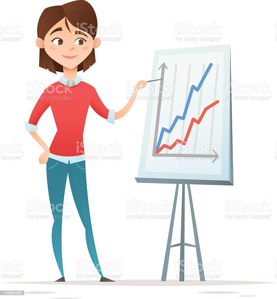 Hipster businesswoman character with presentation isolated - ilustração de arte em vetor