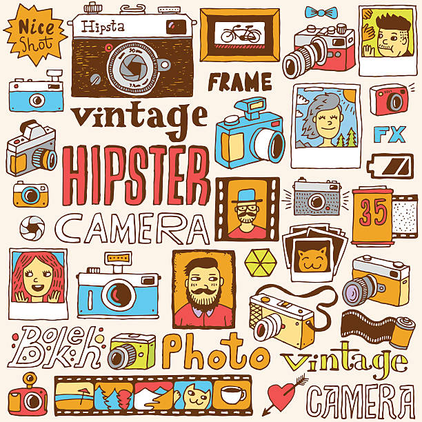 hipster cameras doodle hand drawn vector colorful set. - old man photo pictures stock illustrations, clip art, cartoons, & icons