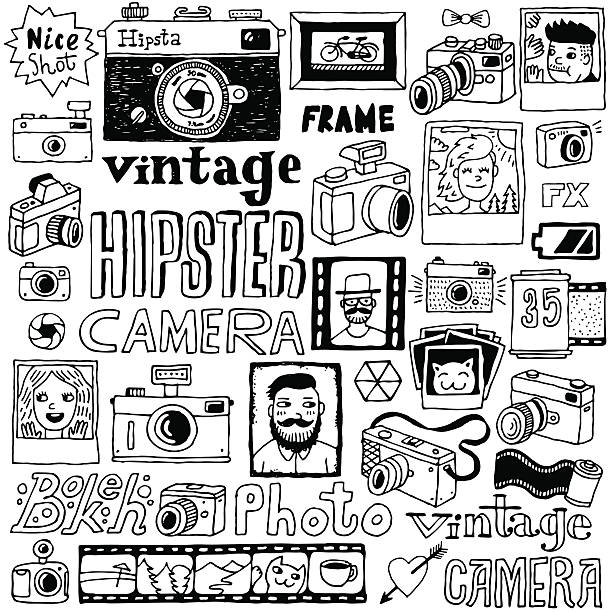 hipster cameras doodle hand drawn vector  set. - old man picture pictures stock illustrations, clip art, cartoons, & icons