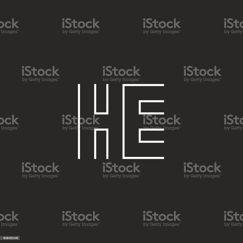 Hipster Capital Letters He Logo Combination Symbols Couple Initials ...