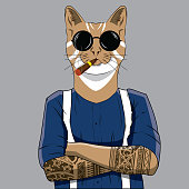 Animal hipster illustration