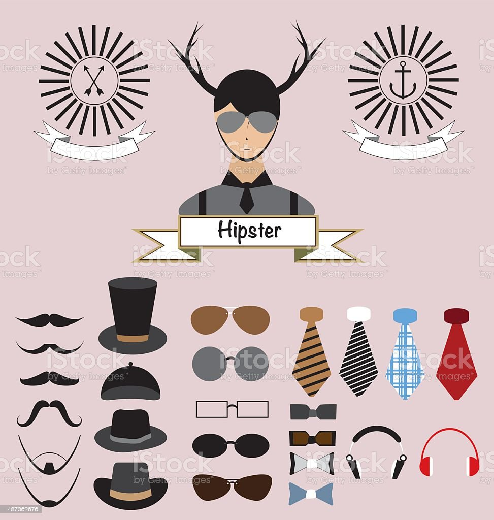 Hipster Character Elements Design vector art illustration