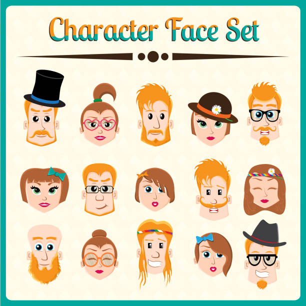 Hipster character face set vector art illustration