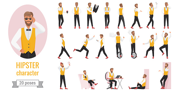 Hipster character poses set, young bearded hipster man in yellow vest in different postures
