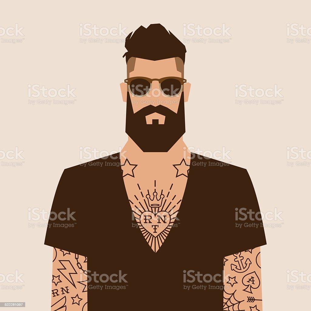hipster character vector art illustration