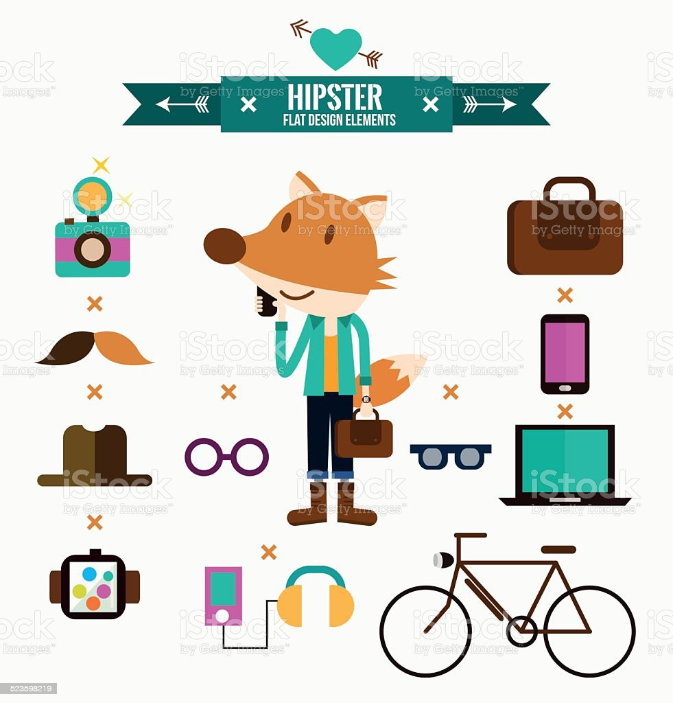 Hipster character with hipster elements and icons. vector art illustration