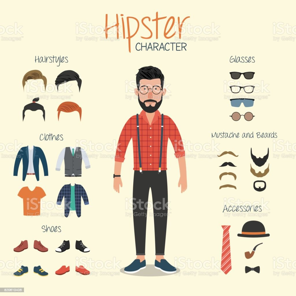 Hipster Character with Hipster Elements vector art illustration
