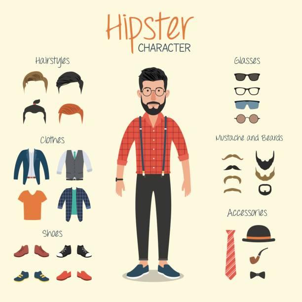 趕時髦的人性格與時髦元素 - 時尚人 幅插畫檔、美工圖案、卡通及圖標