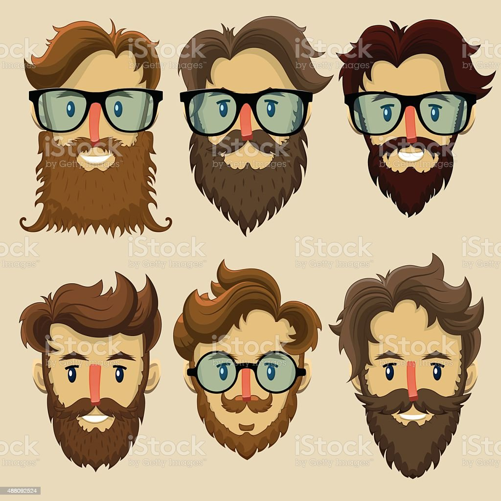 Hipster characters, subculture, retro hairstyle, bearded faces vector art illustration