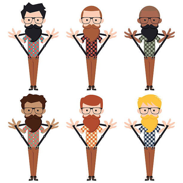 hipster characters - plaid shirt stock illustrations