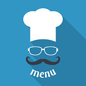 Hipster chef  hat with mustache and glasses.