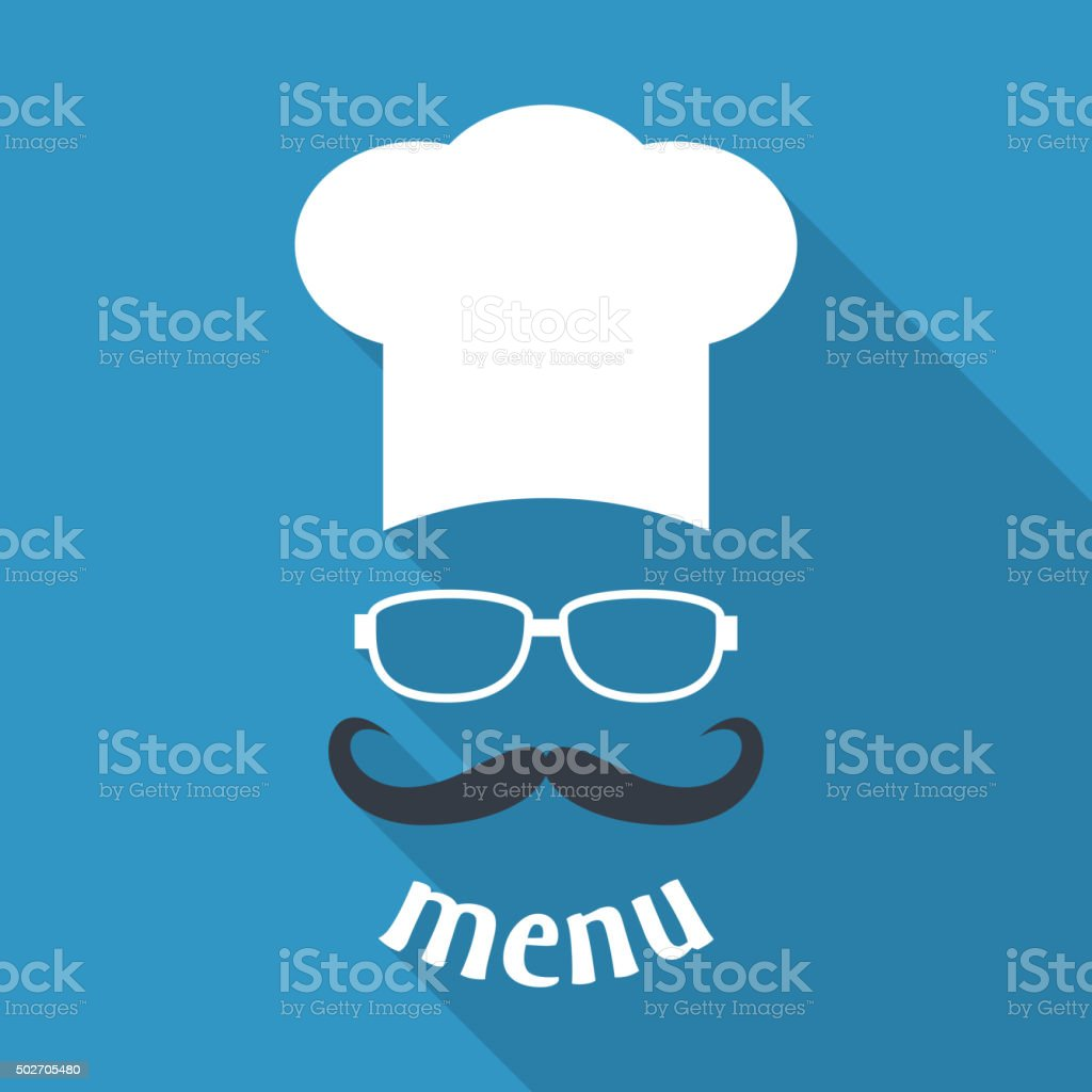 Hipster chef  hat with mustache and glasses. vector art illustration