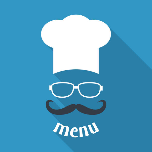 Hipster chef  hat with mustache and glasses. Hipster chef  hat with mustache and glasses. Foods Service icon. Menu card with long shadow.  Simple flat vector illustration, EPS 10. chef's hat stock illustrations