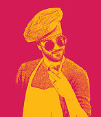 Stipple illustration of a Male hipster chef with cool attitude