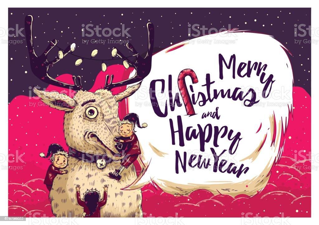 Carte de Noël de hipster ou flyer d'invitation avec les cerfs et les elfes carte de noël de hipster ou flyer dinvitation avec les cerfs et les elfes – cliparts vectoriels et plus d'images de arbre libre de droits