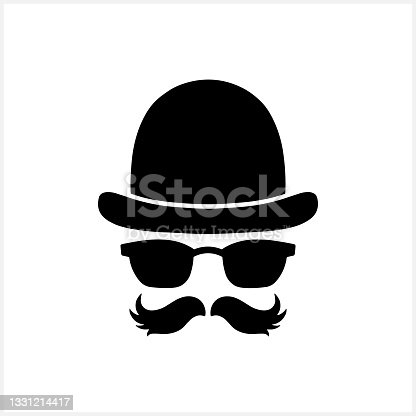 istock Hipster clipart isolated on white. Stencil vector stock illustration. EPS 10 1331214417