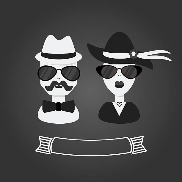 ilustrações, clipart, desenhos animados e ícones de hipster casal em preto e branco, no cinza fundo de inclinação - moda urbana