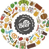 Hipster craft beer doodle poster. Vector hand drawn beer glasses, mugs, bottles, snacks, ingredients and accessories. Round composition of cartoon objects.