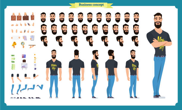 ilustrações, clipart, desenhos animados e ícones de kit de criação de hipster. conjunto de partes do corpo personagem plana masculino dos desenhos animados, penteados, moda, roupas, - landscape creation kit