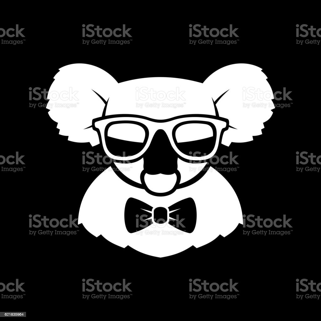 Hipster Cute Koala in Glasses and Bow Tie. Simple Logo vector art illustration