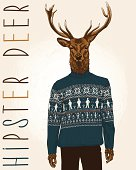 Hand Drawn Vector Illustration of Hipster Deer in sweater with people.
