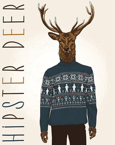 hipster deer - winter fashion stock illustrations, clip art, cartoons, & icons