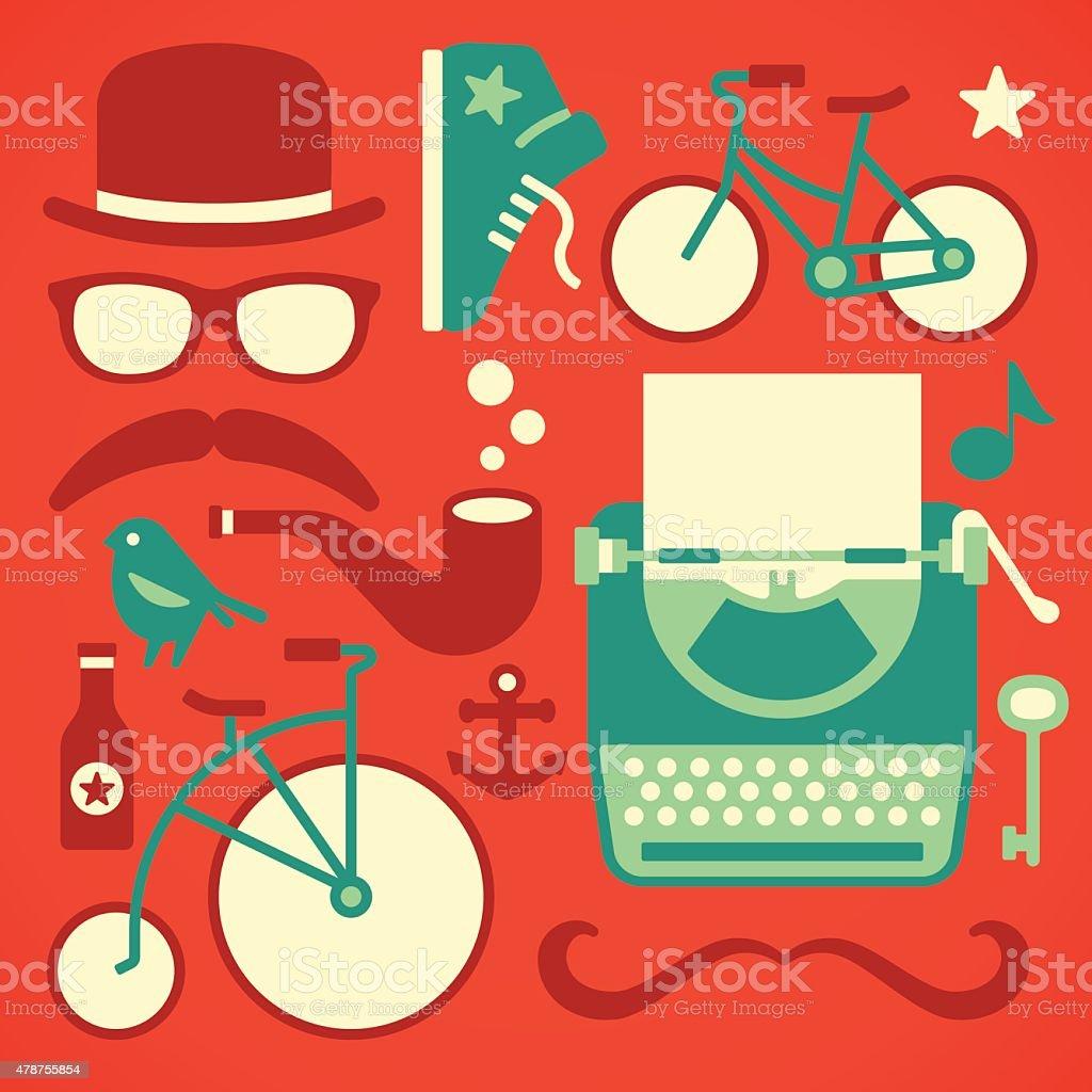 Hipster Design Elements vector art illustration