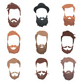Hipster detailed hair and beards set. Fashion bearded man. Long