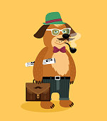 Hipster nerd puppy dog with glasses pipe newspaper and suitcase vector illustration
