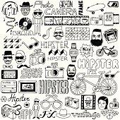 Hipster doodle mega set. Vector illustration.