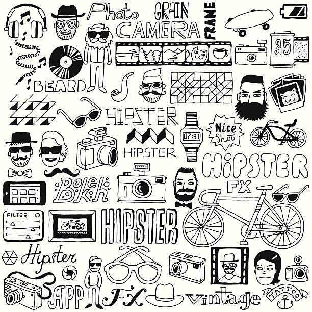 hipster-doodle mega set.  vektor-illustration. - lustige fahrrad stock-grafiken, -clipart, -cartoons und -symbole