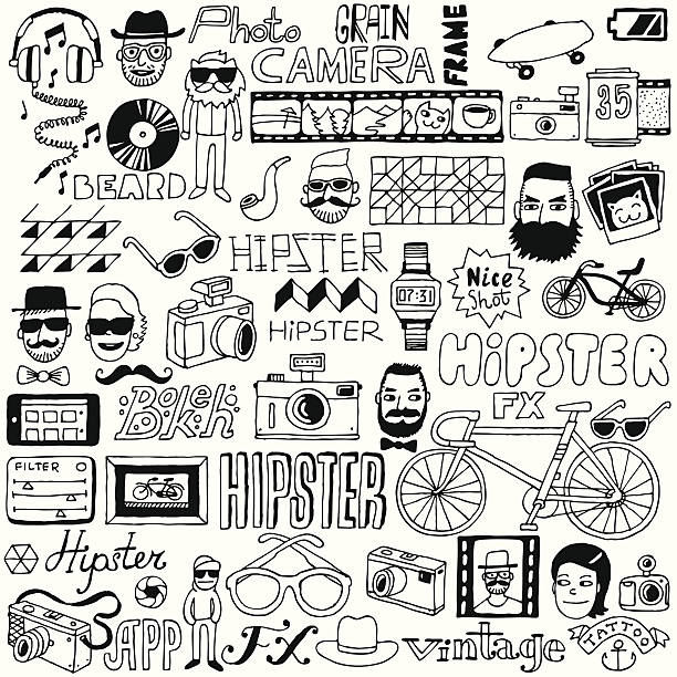 hipster-doodle mega set.  vektor-illustration. - tierfotografie stock-grafiken, -clipart, -cartoons und -symbole
