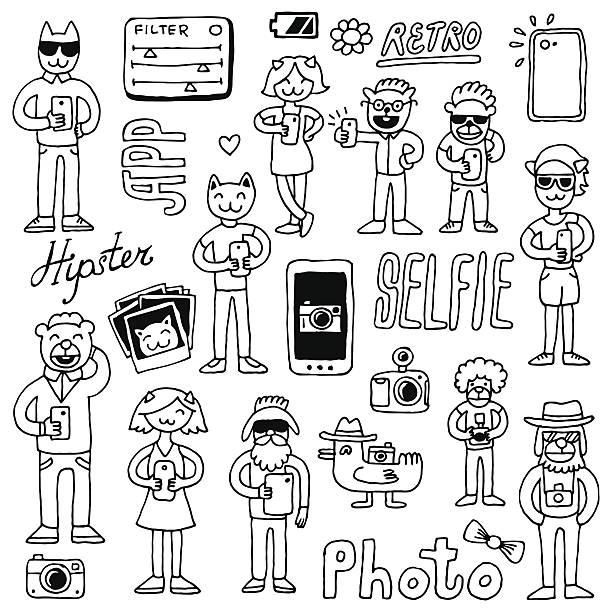 hipster mit schülern kritzeleien set.  hand drawn vector illustration. - tierfotografie stock-grafiken, -clipart, -cartoons und -symbole