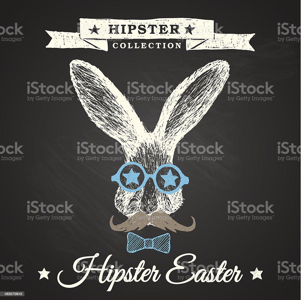 Hipster Easter - rabbit easter poster vector art illustration