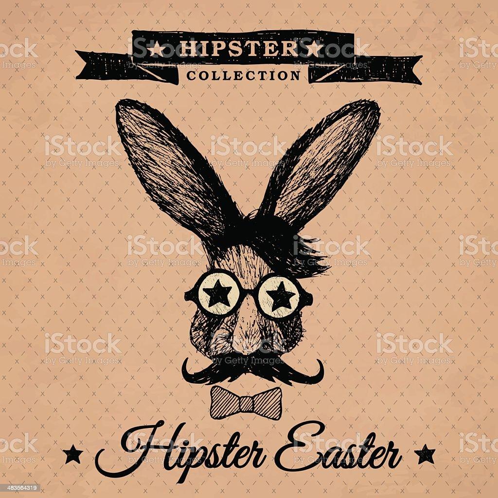 Hipster Easter - vintage easter poster with bunny. vector art illustration