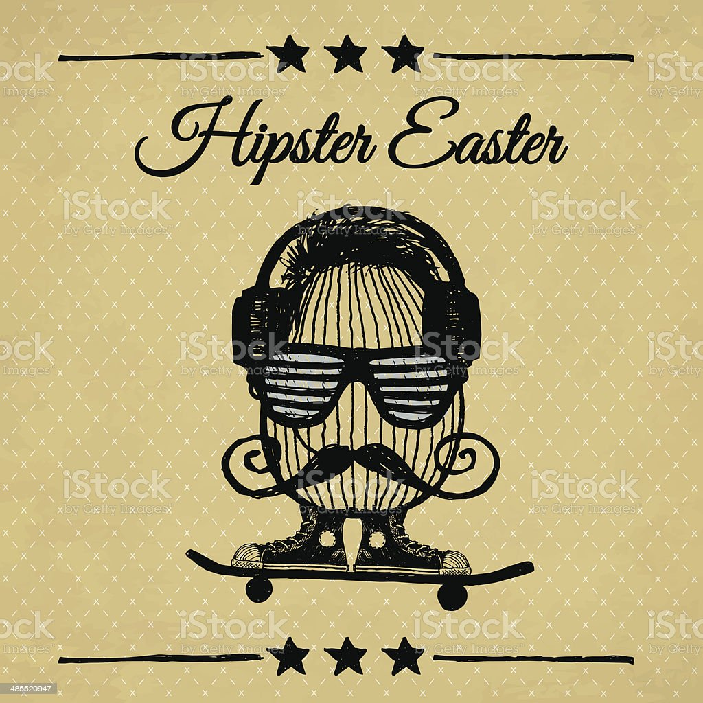 Hipster Easter vintage poster with egg. vector art illustration