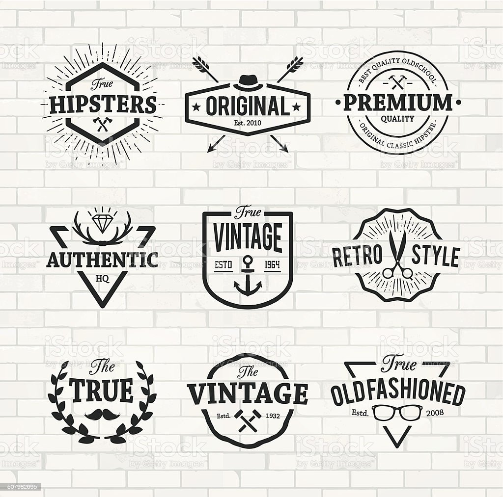 Hipster Emblems vector art illustration