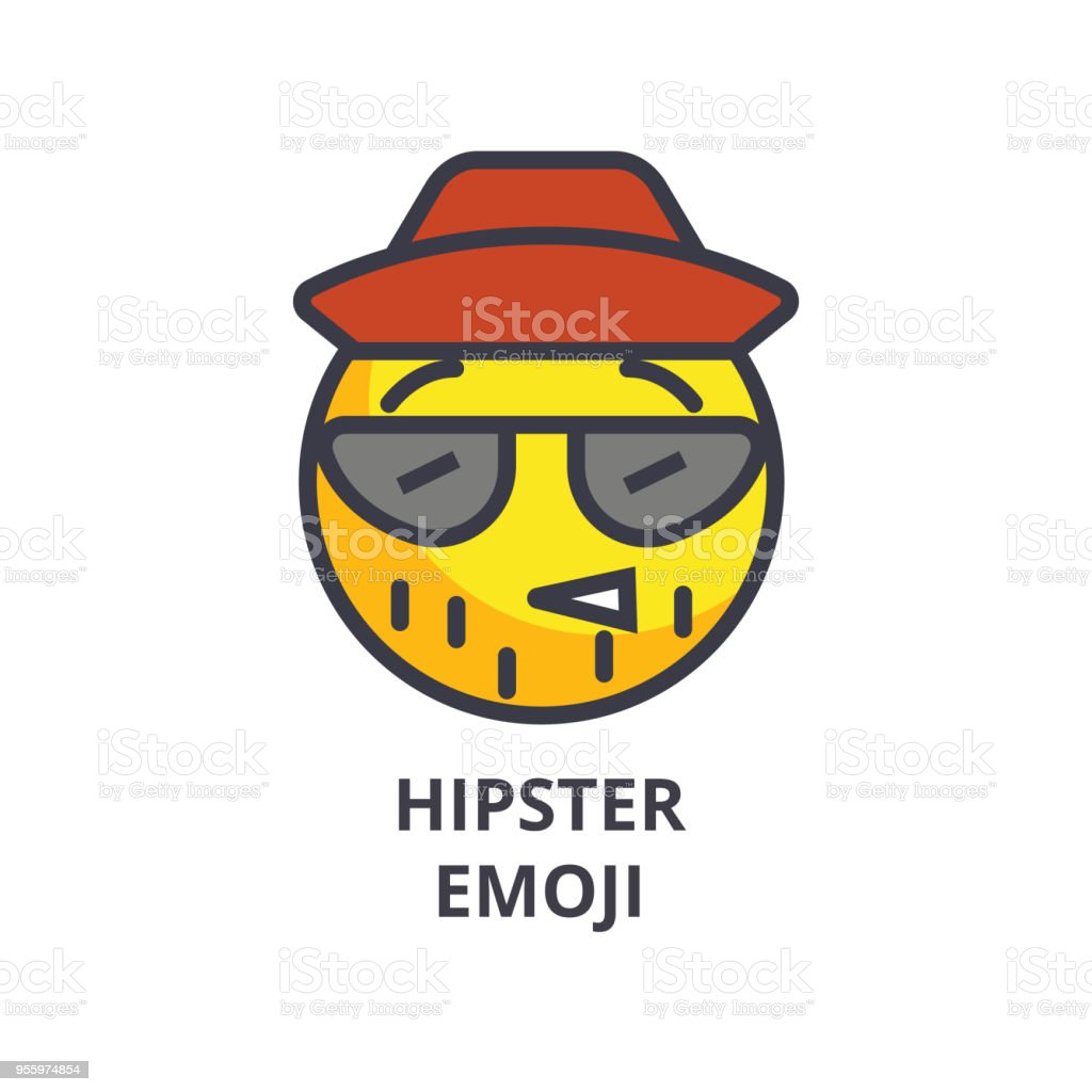 Hipster Emoji Vector Line Icon Sign Illustration On