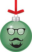 Vector illustration of a shiny green christmas ornament with a hipsters face on it.