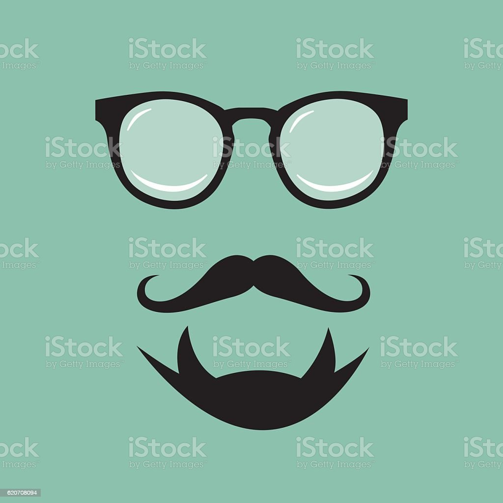 Hipster Face Icon vector art illustration