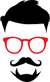 istock Hipster Face With red Eyeglasses 1208042605