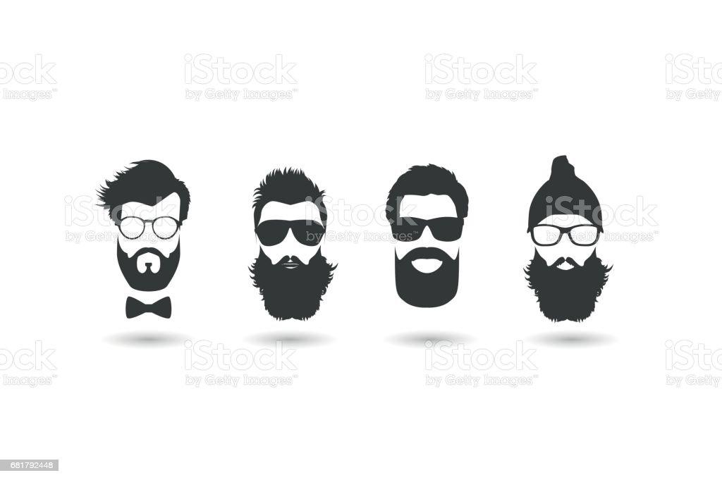 Conjunto de ilustração vetorial rostos hipster. - ilustração de arte em vetor