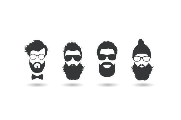 Hipster faces vector illustration set. vector art illustration